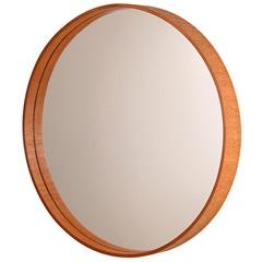 Espelho Redondo com Moldura em Madeira 45,5cm Mogno - Formacril