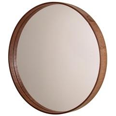 Espelho Redondo com Moldura em Madeira 55,5cm Imbuia - Formacril