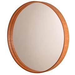 Espelho Redondo com Moldura em Madeira 55,5cm Mogno - Formacril