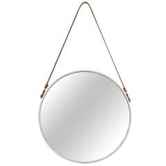 Espelho Redondo em Metal 57,5x36cm Off White - Mart
