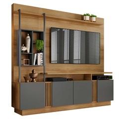 Estante Home para Tv 65'' 4 Portas Fortuna Noronha E Grafite 200x189cm - JCM Movelaria