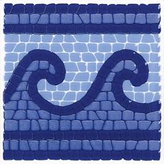 Faixa para Piscina Brilhante Borda Bold Cor 1900 ''Ondas'' Azul 15x15cm - Eliane