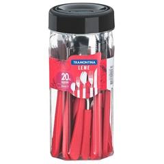 Faqueiro em Aço Inox Leme com 20 Peças Vermelho - Tramontina