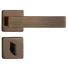 Fechadura para Banheiro com Roseta Quadra Bronze Oxidado - Pado