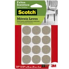 Feltro Sintético Redondo 25mm com 12 Peças Marrom - Scotch