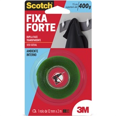 Fita Dupla Face Fixa Forte 12mm com 2m Transparente - Scotch