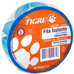 Fita Isolante Color 18mm com 10 Metros Azul - Tigre