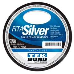 Fita Silver Tape 48mm com 5 Metros Preta - Tekbond