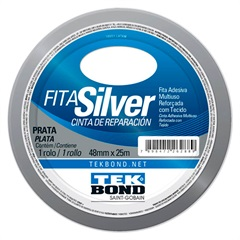 Fita Super Tape 48mm com 25 Metros Prata - Tekbond