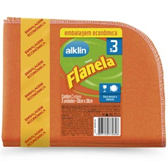 Flanela para Limpeza com 3 Unidades Laranja - Alklin
