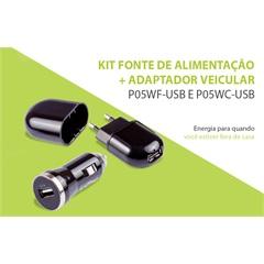 Fonte de Alimentação E Adaptador Veicular Usb Kit