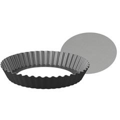 Forma Redonda para Bolo em Alumínio com Fundo Removível 24cm Preta - Tramontina