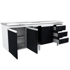 Gabinete Cozinha para Pia de 200cm Preto - Bonatto