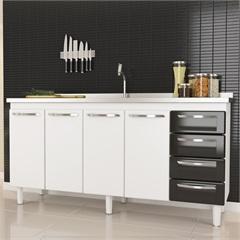 Gabinete em Aço Quality para Pia de 180cm Preto - Cozimax