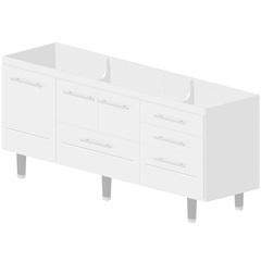 Gabinete em Mdf Life para Pia de 200cm Branco - Bonatto