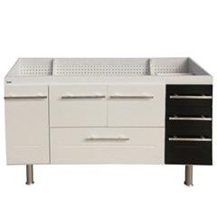 Gabinete em Mdf para Pia Life 66x145cm Branco E Preto - Bonatto
