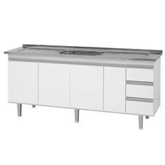 Gabinete em Mdf para Pia Siena 66x175cm Branco - Bonatto