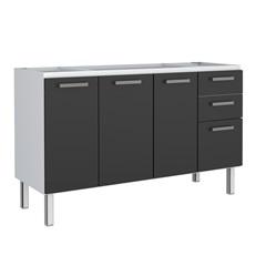 Gabinete Eros Flat 150 em Aço 144,6x50cm Preto - Cozimax
