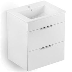 Gabinete Integrado em Mdf para Banheiro com Lavatório Cube 45x43cm com 2 Gavetas Branco - Celite