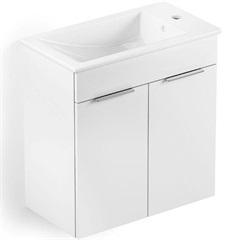 Gabinete Integrado em Mdf para Banheiro com Lavatório Cube 60x34cm com 2 Portas Branco - Celite