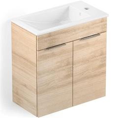 Gabinete Integrado em Mdf para Banheiro com Lavatório Cube 60x34cm com 2 Portas Carvalho - Celite