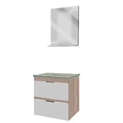 Gabinete para Banheiro com 2 Gavetas 54,3x51,5cm Grigio - Bumi Móveis