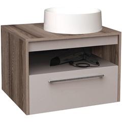 Gabinete para Banheiro em Mdf com Cuba Alfazema 60x43cm Nude E Tamarindo - Cozimax