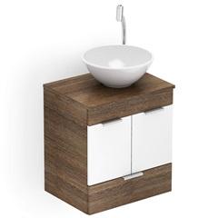 Gabinete para Banheiro em Mdf com Cuba Basic 50x38cm Wengué E Branco - Celite