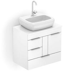 Gabinete para Banheiro em Mdf com Cuba Fit 60x38cm Branco - Celite