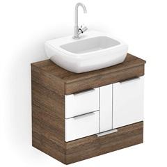 Gabinete para Banheiro em Mdf com Cuba Fit 60x38cm Wengué E Branco - Celite