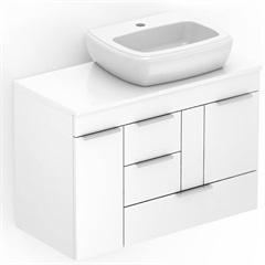 Gabinete para Banheiro em Mdf com Cuba Fit 80x38cm Branco - Celite