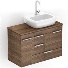 Gabinete para Banheiro em Mdf com Cuba Fit 80x38cm Wengué - Celite