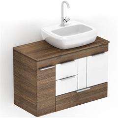 Gabinete para Banheiro em Mdf com Cuba Fit 80x38cm Wengué E Branco - Celite