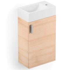 Gabinete para Banheiro em Mdf com Cuba Petit 22x40cm Branco E Carvalho - Celite