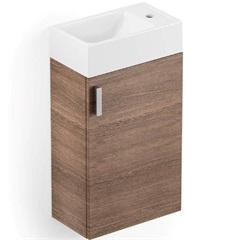 Gabinete para Banheiro em Mdf com Cuba Petit 22x40cm Branco E Wengué - Celite