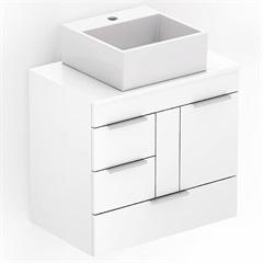 Gabinete para Banheiro em Mdf com Cuba Quadrada Basic 60x38cm Branco - Celite