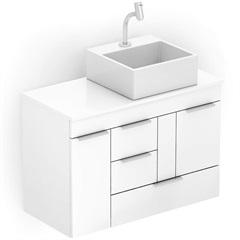 Gabinete para Banheiro em Mdf com Cuba Quadrada Basic 80x38cm Branco - Celite