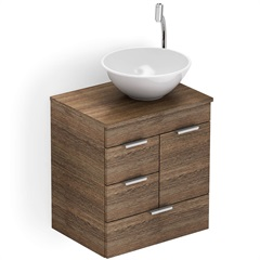 Gabinete para Banheiro em Mdf com Cuba Redonda Basic 50x38cm Wengué - Celite