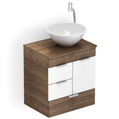 Gabinete para Banheiro em Mdf com Cuba Redonda Basic 50x38cm Wengué E Branco - Celite