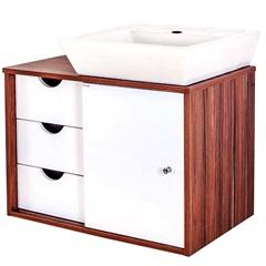 Gabinete para Banheiro em Mdf com Cuba Safira 44x64cm Branco E Ébano - Fermar Scalline