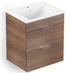 Gabinete para Banheiro em Mdf com Lavatório Cube 43x45cm Branco E Wengué - Celite