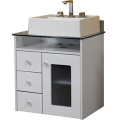 Gabinete para Banheiro em Mdf com Tampo de Vidro Havana 60cm Branco - Bonatto