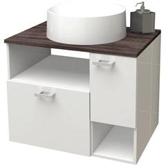 Gabinete para Banheiro em Mdf Iara 59,5 X 47,8cm Branco E Dakota - Cozimax