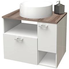 Gabinete para Banheiro em Mdf Iara 59,5 X 47,8cm Branco E Tamarindo - Cozimax