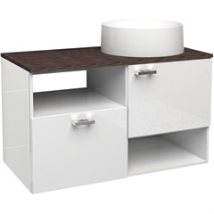 Gabinete para Banheiro em Mdf Iara 79,6cm Branco E Dakota - Cozimax