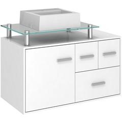 Gabinete para Banheiro em Mdf Napoli 80cm Branco - Darabas Agardi
