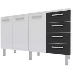 Gabinete para Cozinha em Aço Quality Flat 144,7cm Branco E Preto - Cozimax