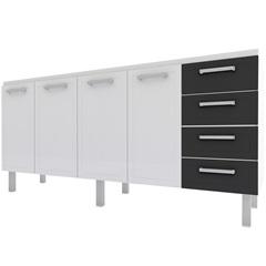 Gabinete para Cozinha em Aço Quality Flat 192cm Branco E Preto - Cozimax