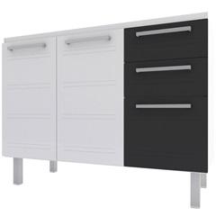 Gabinete para Cozinha em Aço Zeus Flat 117,2cm Branco E Preto - Cozimax