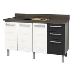 Gabinete para Cozinha em Aço Zeus Flat 150cm Branco E Preto - Cozimax